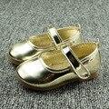 J Ghee 2016 Moda Bebê Menina Sapatos Princesa Simples PU Patente couro Crianças Sapatos Para As Meninas das Crianças Loafers UE 21-25 Ouro Rosa