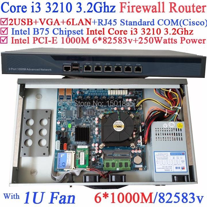 Intel i3 3210 3 2GHz router firewall barebone router with 6 Gigabit 82583v LAN Wayos PFSense
