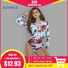 Купить с кэшбэком AONIHUA 2018 Sexy Front zipper One Piece Swimsuit Women High quality Push up Long sleeve Swimwear female Surfing swimming suit