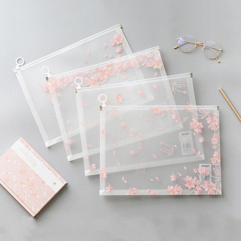 1 Pc Kawaii Cherry Sakura Button Office Zipper File Folder A4 School Office Supplies Children Student Gifts Stationery