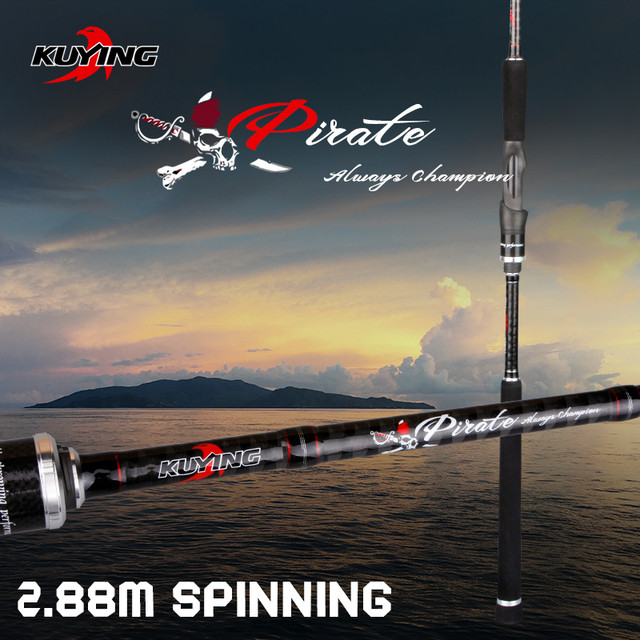 """KUYING Pirate 2.88m 9'6"""" Spinning M Carbon Fiber Fishing Lure Rod Cane Pole Stick Medium Fast Action FUJI Spare Part Far Casting"""