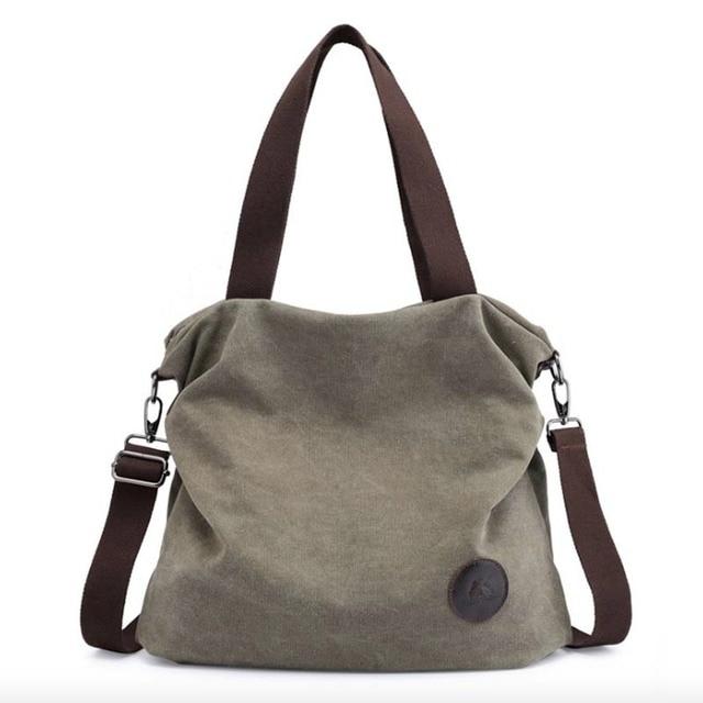 Kvky Brand Large Pocket Casual Tote Women s Handbag Shoulder Handbags Canvas Leather Capacity Bags For Women