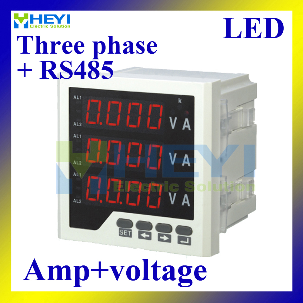 Three phase LED digital voltage ampere meter Combined Meters AC voltage multi function meter with RS485 me 3d2y lcd digital panel power meter three phase multifunction meter with alarm output function and rs485 communication