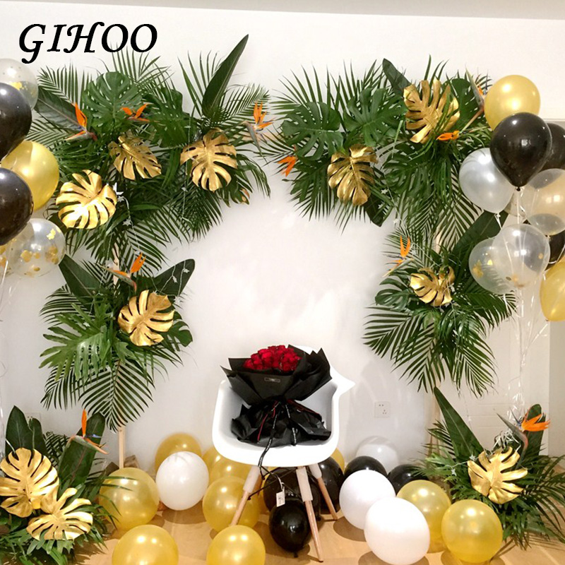 Image 2 - 5PCS Gold Green High Quality Fake Leaf Artificial Tropical Palm Leaves DIY Plant Home Party Wedding Table Desk Decoration Supply-in Artificial Plants from Home & Garden