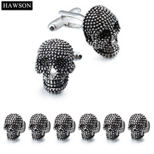 Brand Hawson Cuff links 6 Studs Set Costume Party Gift High Quality Skeleton Cufflinks for Mens French Shirt Dress