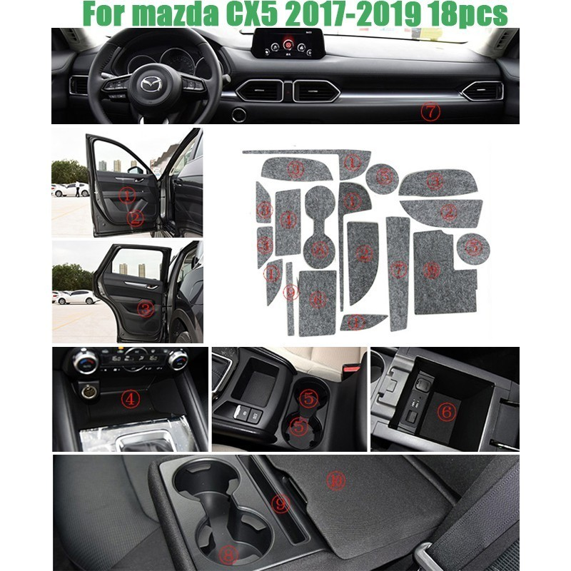 18 Pcs Gate Slot Mat Pad Felted Wool For Mazda 3 5 6 CX 3 CX 5 CX 7 Door Groove Mat Car Accessories Anti Slip Car Styling