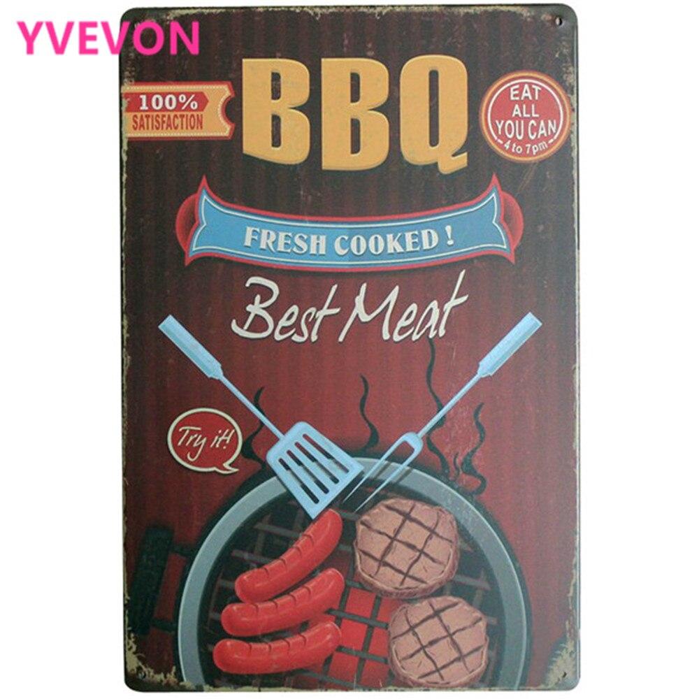 BBQ FRESH VYVÁŽENÝ Nejlepší maso Metal Decor Znamení Vintage Jídlo Tabulka pro port hovězí maso uzeniny gril venkovní strana LJ7-15 20x30cm A1
