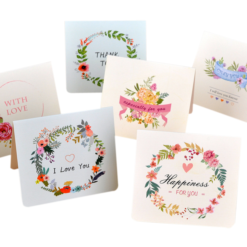 Radient 6packs/lot European Beautiful Flower Series Cards Best Blessing Business Invitations Holiday Greeting Cards Professional Design