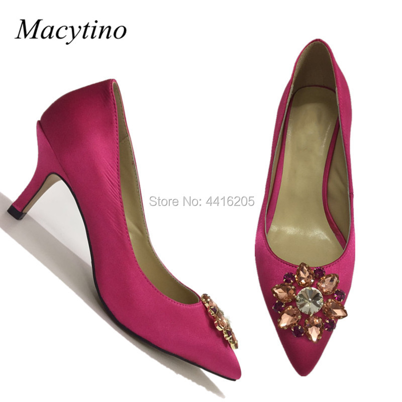 Hot Pink Satin Pumps Beading Flower Pointy Toe Kitten Heel Formal Ladies Shoes Plus Size Bridal Wedding Shoes