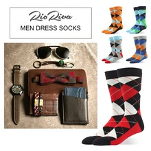 hot deal buy men dress socks argyle classic 90% cotton casual style colorful fun pattern for fashion gentlemen boys-mid calf big and tall
