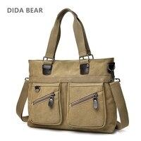 DIDA BEAR Men Handbags Unisex Bag Canvas Shoulder Bag Big Space Messenger Bags Male Crossbody Bag