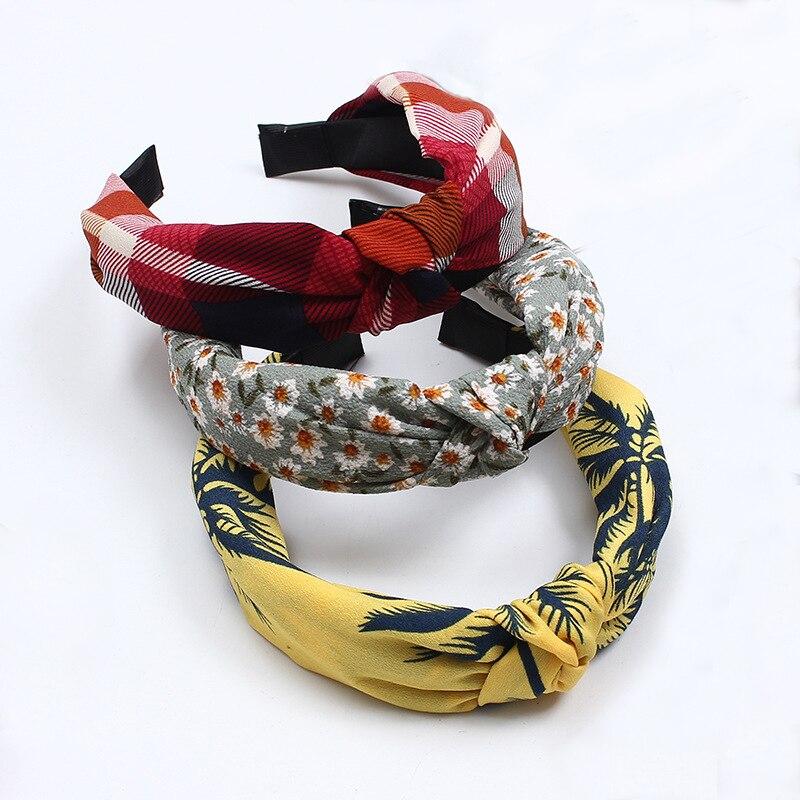 summer fashion knot Hairbands fabric flowers hair hoop turban Woman Headbands hair accessories for women girls festival   headwear