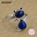 100% Real Pure 925 Prata Esterlina Jóias Anel de Prata Thai Naturais Lapis Lazuli Gato Anéis Animais para Mulheres Presentes de Natal