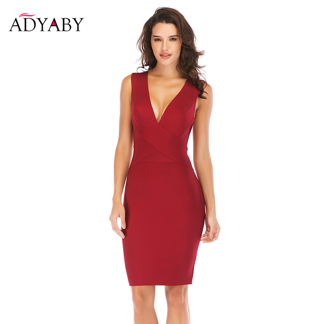 Women Sexy Bodycon Party Dress 2018 New Arrival Fashion Summer Sexy Bandage  Dress Wine Red Sleeveless V Neck Pencil Midi Dresses aedf11643406