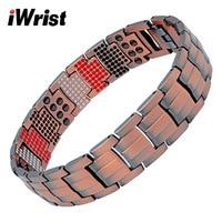 iWrist Men's Healing Pure Copper Magnetic Bracelets&Bangles Men Health Care Elements Magnetic Germanium Benefit Healthy Jewelry