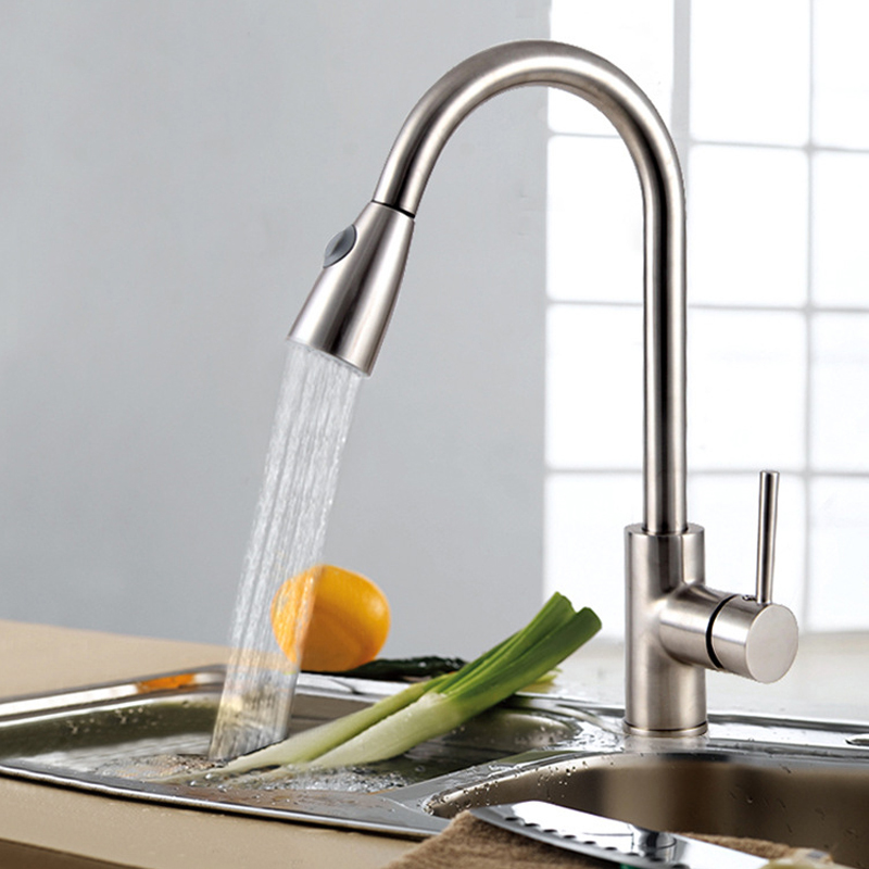JOOE high quality Brass Brushed Kitchen Faucet pull out Hot and cold mixer water tap Deck Mounted kitchen sink faucet banheiro kitchen chrome plated brass faucet single handle pull out pull down sink mixer hot and cold tap modern design