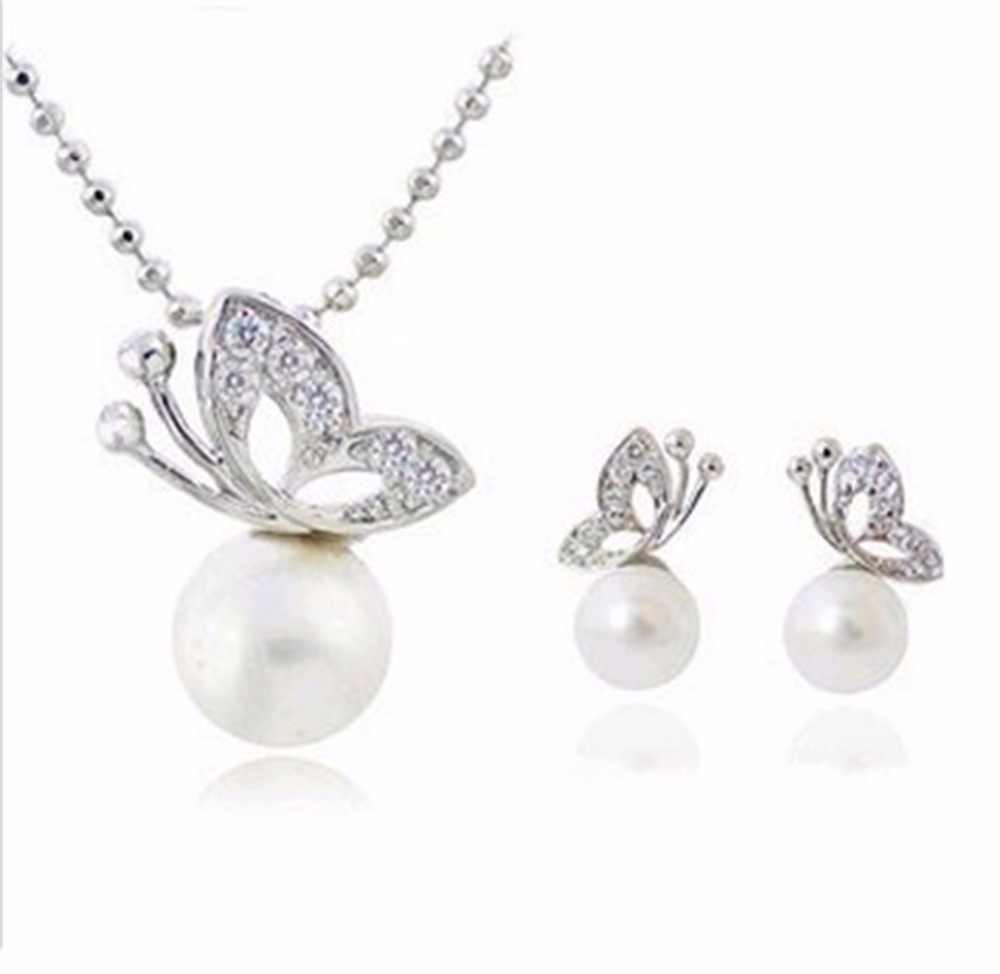 Butterfly Jewelry  Necklace Women's Jewelry Bijoux Necklaces & Pendants Imitation Pearl animals Necklace For Sale