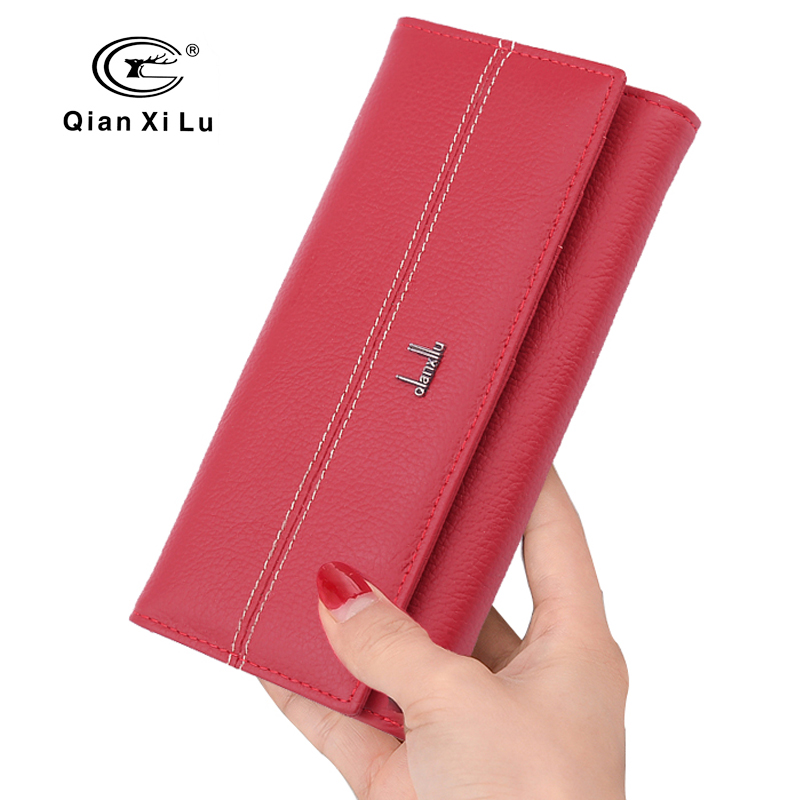 High Quality Women Leather Wallet Holder Long Design Clutch Female Purse Real Soft Cowhide 3 color