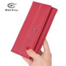 Высокое качество женские кожаные бумажник долго дизайн Клатч женский кошелек натуральная мягкая кожа 3 цвета