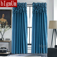 Luxury Valance & Curtains for Window Customized Ready Made Window Treatment /Drapes For Living Room/Bedroom Solid Color Panel