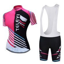 TELEYI Kristine Quick-Dry Summer Women Bike Cycling Clothing Breathable Bicycle Clothes Ropa Ciclismo UV Pink Cycling Jerseys