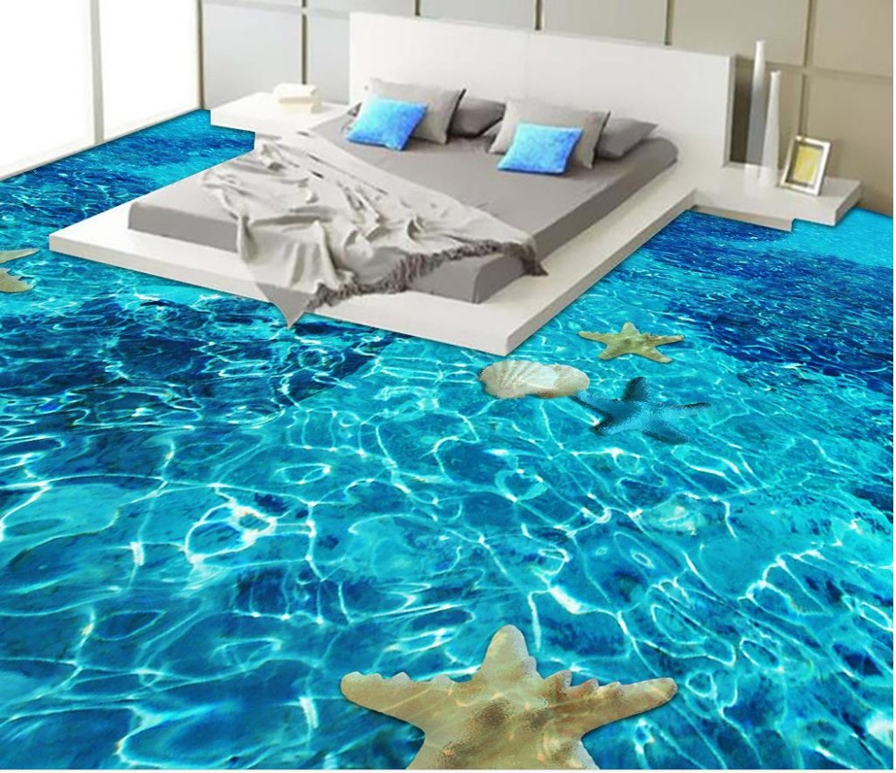 Beach floor murals in wall stickers 3D wallpaper floor for living room PVC waterproof floor self-adhesive 3D floor  beibehang summer beach floor floor murals wall stickers 3d wallpaper for living room pvc floor self adhesive papel de parede 3d