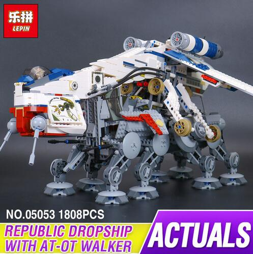 Lepin 05053 1808Pcs New Genuine The Republic Dropship Set Building Blocks Bricks Children Toys 10195 in stock new lepin 16009 1151pcs queen anne s revenge pirates of the caribbean building blocks set compatible legoed with 4195 children