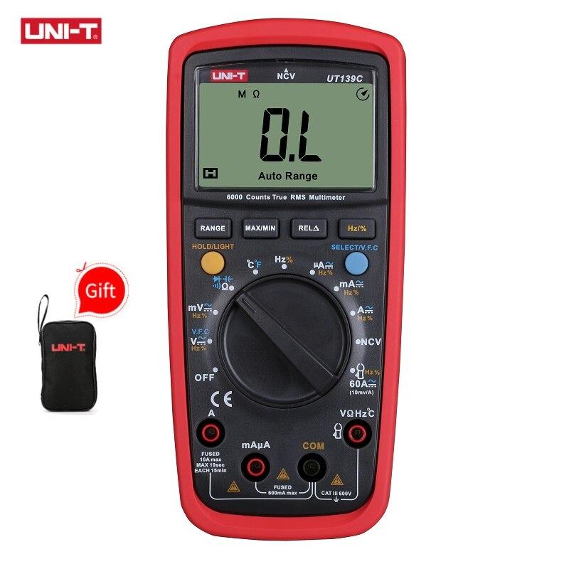 UNI T UT139C Digital Multimeter Auto Range True RMS Meter Handheld Tester 6000 Count Voltmeter Temperature