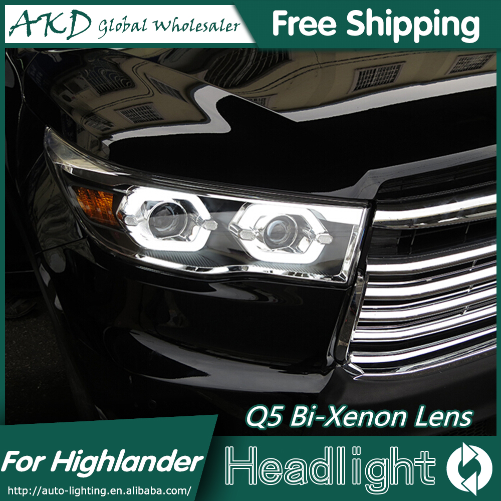 AKD Car Styling for Toyota Highlander Headlights 2014-2015 Kluger LED Headlight DRL Bi Xenon Lens High Low Beam Parking Fog Lamp hireno car styling for toyo ta corolla 2011 13 headlights led super bright headlight drl xenon lens high fog lam
