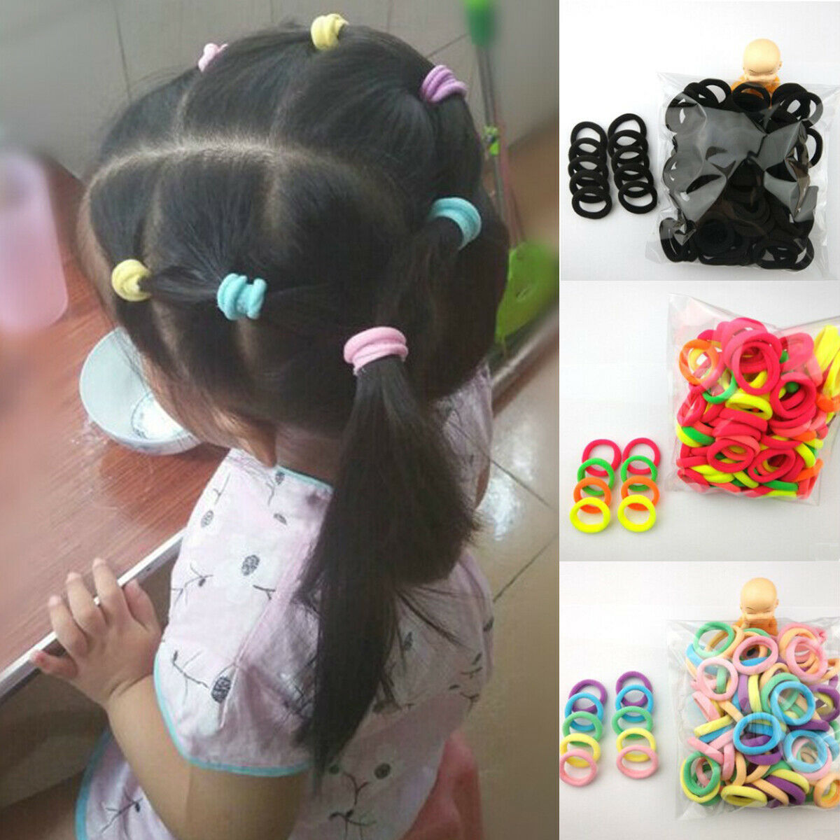 50 Pcs Assorted Elastic Rubber Hair Rope Band Ponytail Holder for Kids Girl