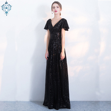 Ameision sexy Long Formal deep V neck Evening Dresses Short Sleeves mermaid Vestido Elegant Women Party Robe de soiree Gown