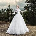 Vestido Branco 2017 White 2 Piece Lace Vintage Wedding Dress with Jacket Long Sleeve Lace Up Vestido de Noiva Casamento Cheap