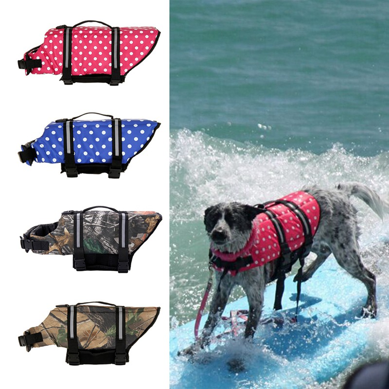 Pet Dog Life Jacket Safety Vest Surfing Swimming Clothes With D Ring For Leash Summer Vacation Oxford Breathable French Bulldog