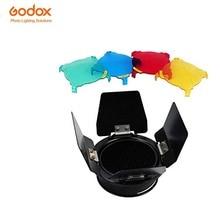 Godox BD-03 Barn Door & Honeycomb Grade + 4 Cores Filtro Para Estúdio Strobe Flash com Montagem Universal