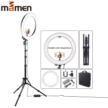 Mamen Photography Dimmable LED Selfie Ring Light Lamp 55W Youtube Video Live 5500k Photo Studio With Phone Holder Tripod