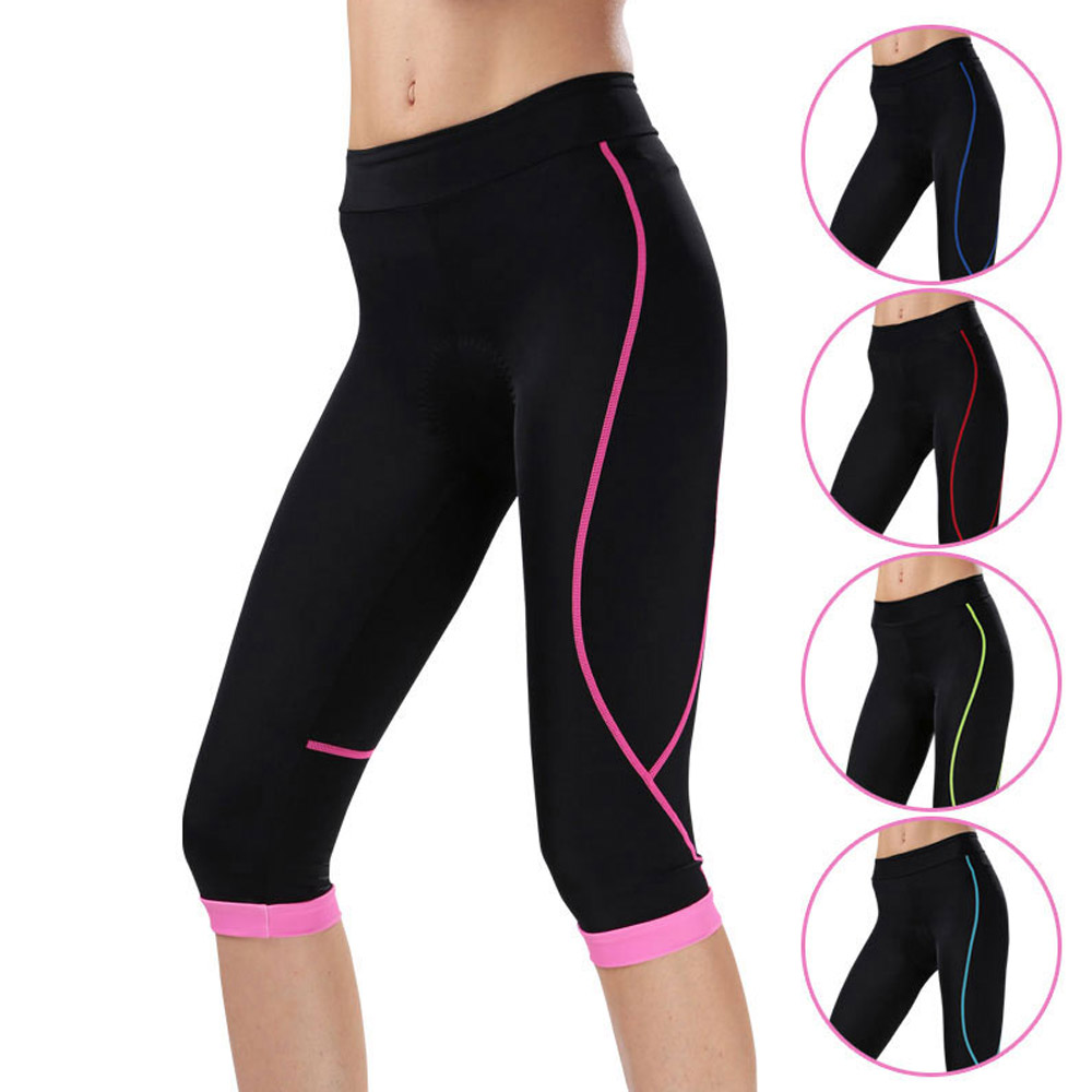 Women's 3/4 Cycling Pants Compression CHEJI Team Ladies 3/4 Mountain Bike Tights Race Fit Bicycle Trousers Coolmax Padded цена