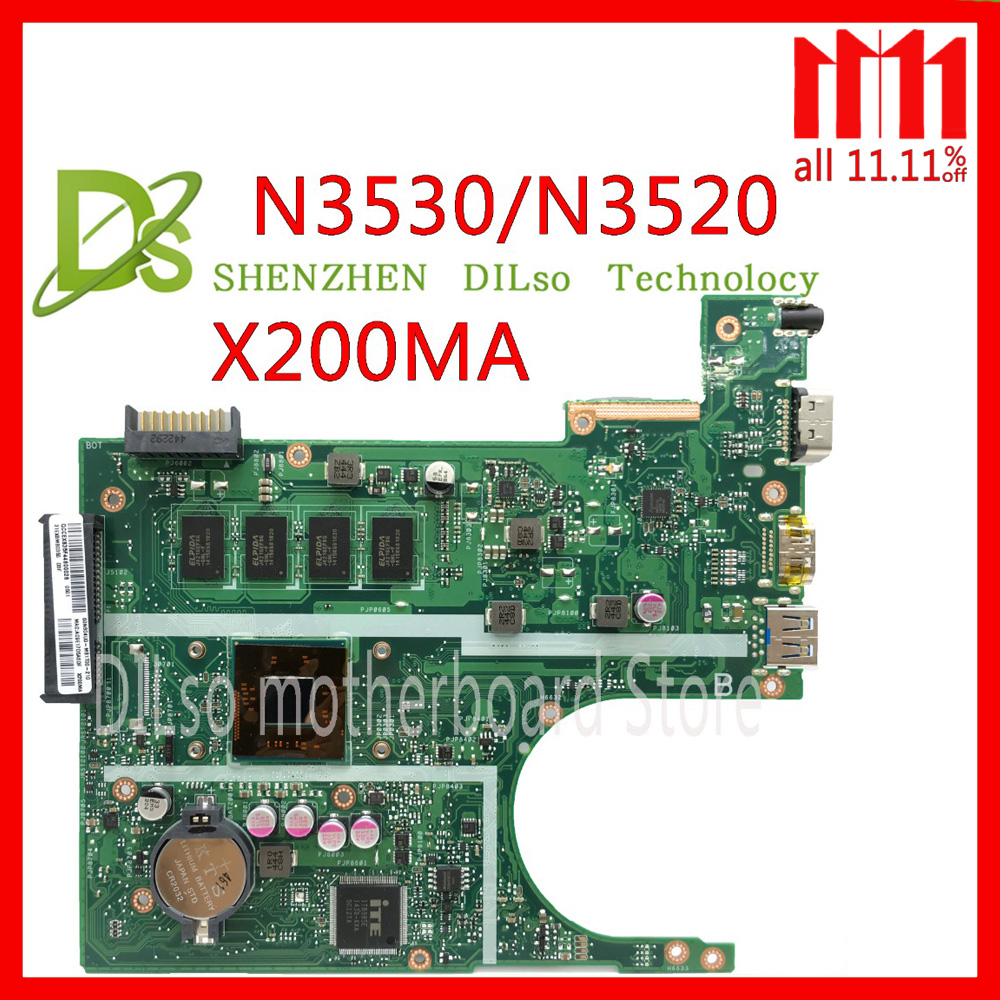 KEFU X200MA For ASUS F200MA X200MA Laptop Motherboard N3530/N3520 CPU 4GB MEMORY motherboard REV2.1 Test for asus motherboard f200ma f200m x200m x200ma rev2 1 mainboard with n3540u 4g memory test 100