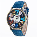 Willby Retro Cowboy Jeans Imitated Leather Strap Clock Quartz Watch For Women Men Drop Shipping 170208