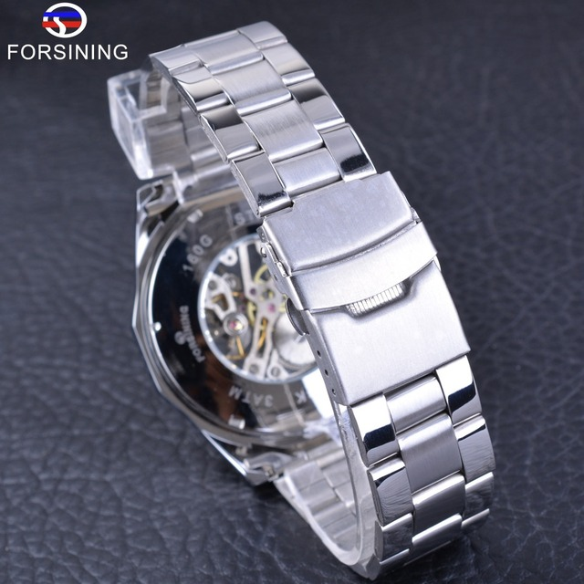 Silver Stainless Steel Waterproof Transparent Mechanical Male Wrist Watch