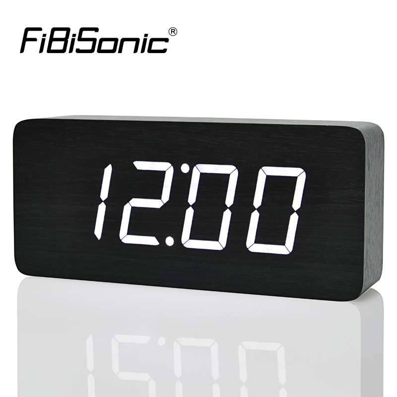 FiBiSonic 2019 New Design Wood LED Digital Clocks, Voice Control Big Numbers Wooden Alarm Clock With Temperature