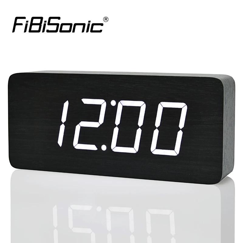 Fibisonic 2020 New Design Wood Led Digital Clocks Voice Control Big Numbers Wooden Alarm Clock With Temperature Wooden Alarm Clock Alarm Clockalarm Clock Design Aliexpress