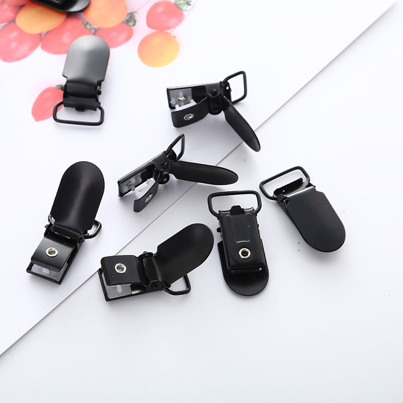 Metal Black Baby Duckbill Buckle 5 Piece Lot Child Pacifier Frame DIY Jewelry Accessories Duckbill Clip Baby Feeding Supplies in Jewelry Findings Components from Jewelry Accessories