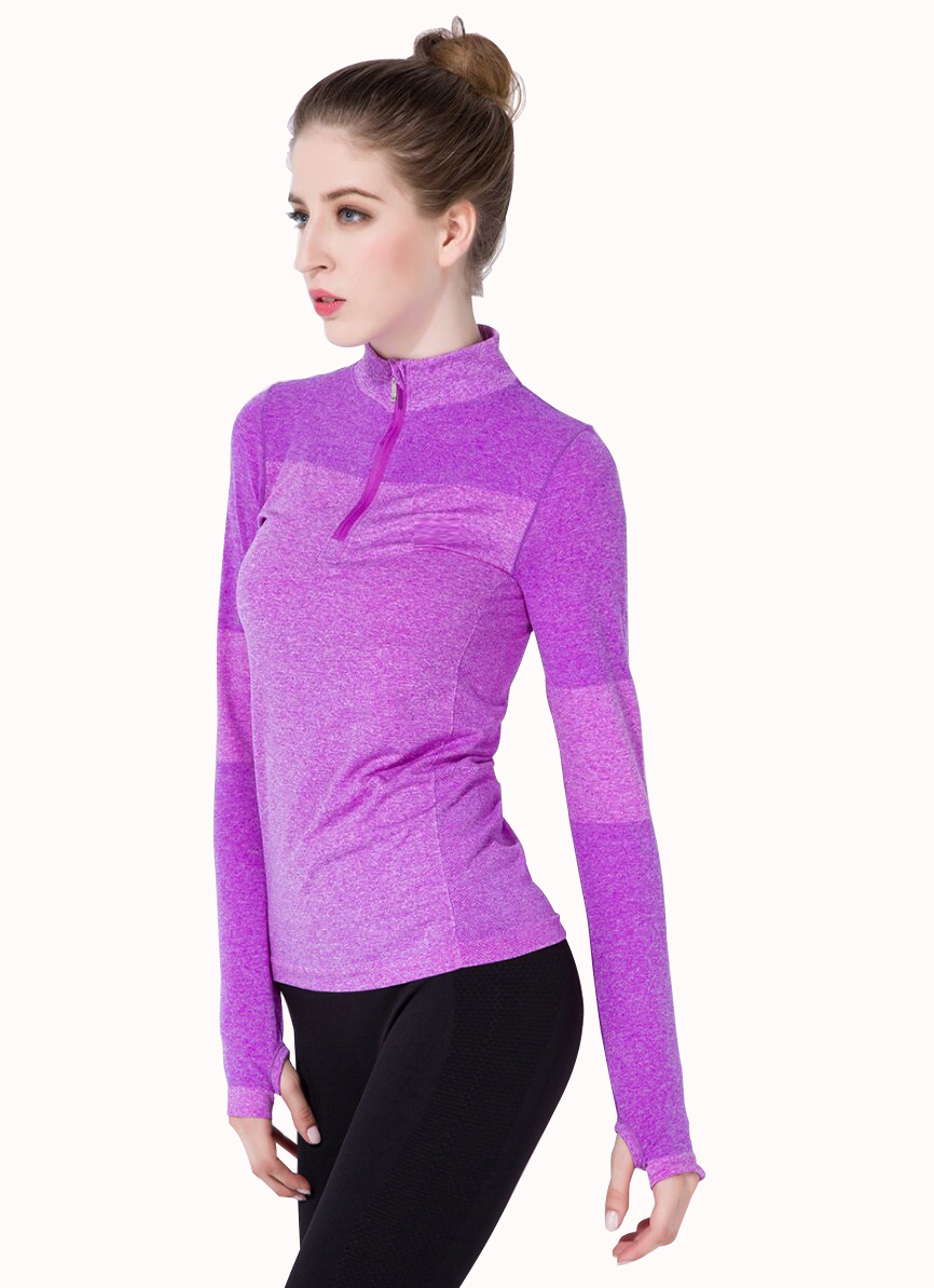 Stretched 1 4 zip long sleeves sports fitness shirt gym Yoga shirts with sleeves