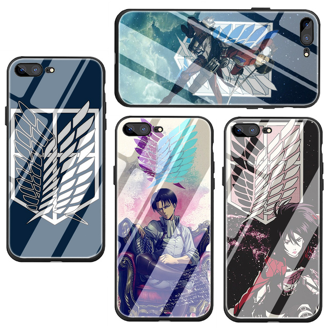 Attack On Titan Tempered Glass Soft TPU cover case for iphone