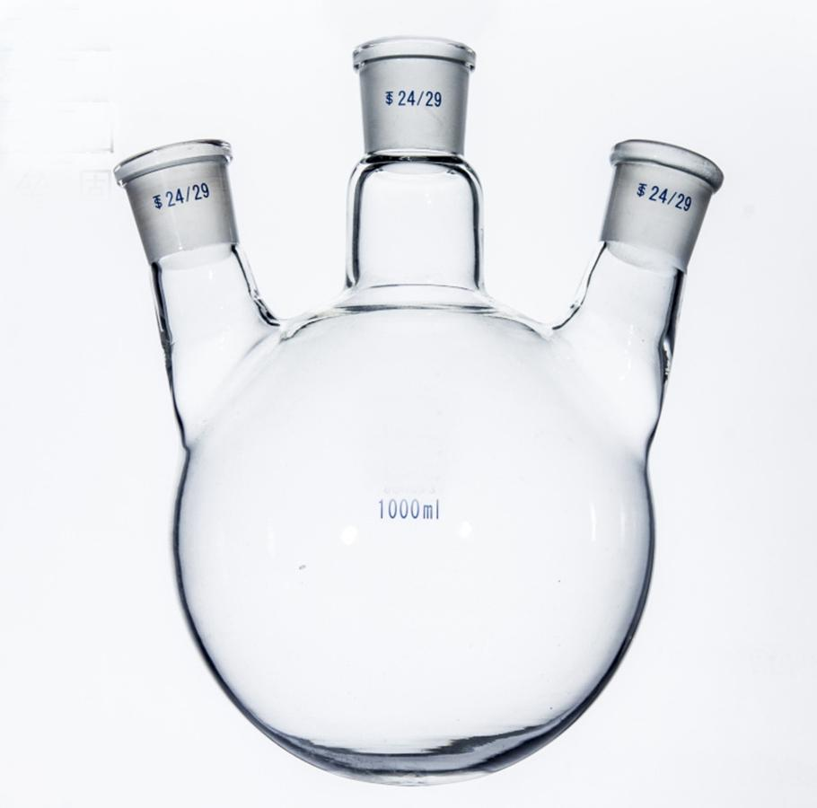 1000ml Laboratory Borosilicate Glass 24/29 Joint Glass Flask round bottom with three necks Graduated1000ml Laboratory Borosilicate Glass 24/29 Joint Glass Flask round bottom with three necks Graduated