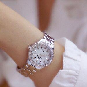Image 5 - Женские кварцевые часы, из нержавеющей стали, с кристаллами, розовое золото, 2019