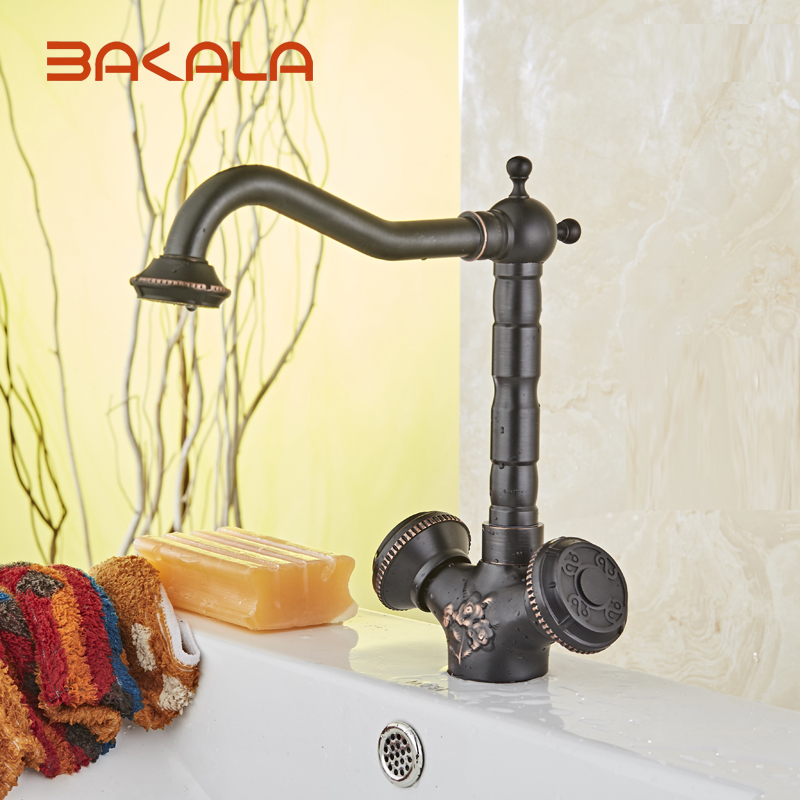 New Arrival Black Faucet Vintage Style Bathroom Basin Sink Faucet Antique Brass MixerTap Dual Handles Deck Mounted BR-10704H new arrival centerset antique brass bathroom sink faucet