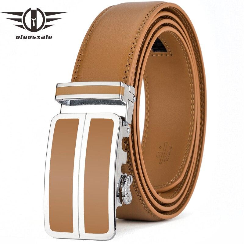 Plyesxale Cow Genuine Leather Belts For Men Designer Mens Belts Luxury Waist Belt Black Blue Red Light Brown Formal Cinturon G77