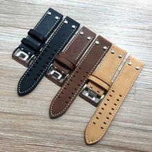 22mm Mate Brown Black Khaki Calf Leather Strap for Hamilton Watchband Mens Rivet Military Pilot Seiko bracelet U boat Oris Belt
