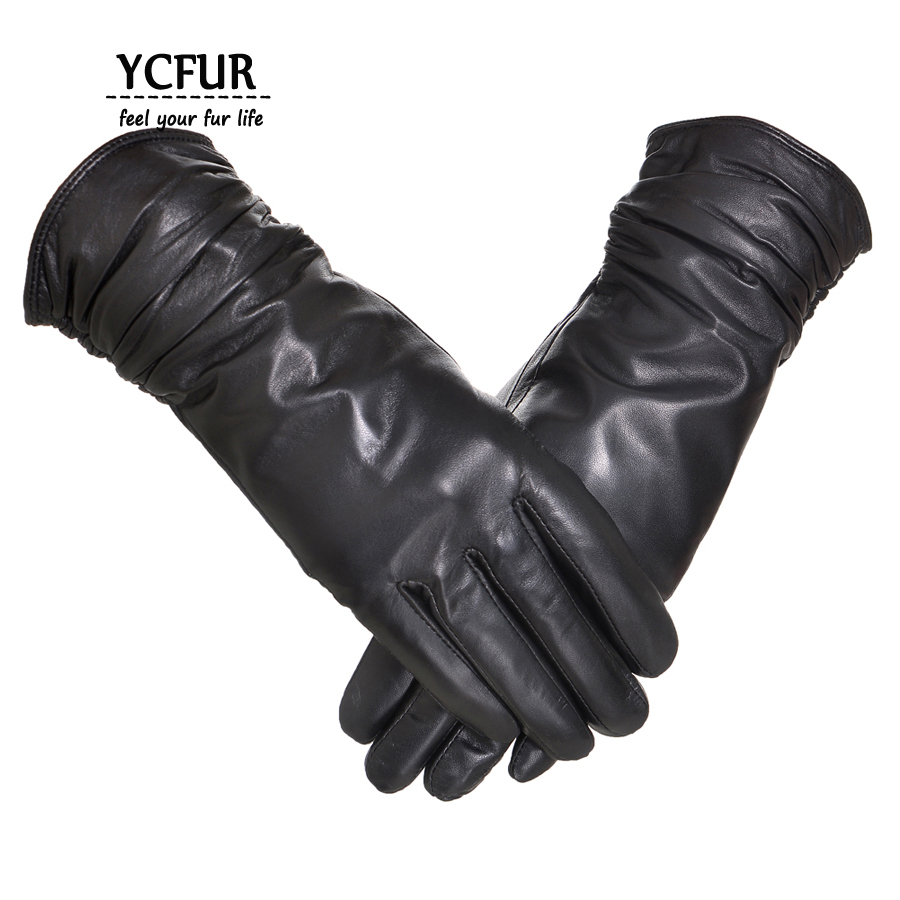 Black leather gloves female - New Arrival Genuine Leather Gloves Women Winter Glove Female Sheep Leather Mittens Women Genuine Sheepskin Gloves